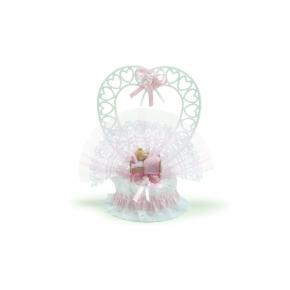 Berceau rose en résine avec bébé fille