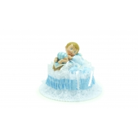 Embase de baptême bleue avec bébé garçon