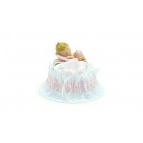 Embase de baptême rose avec bébé fille