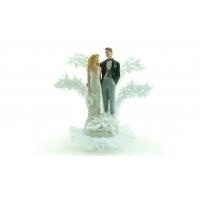 Grand couple de mariés en porcelaine