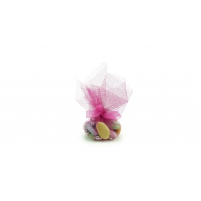 Dragées Chocolat assorties Tulle rose 50g