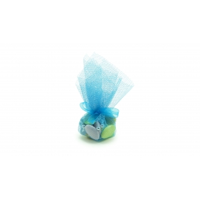 Dragées Chocolat assorties Tulle bleu 50g